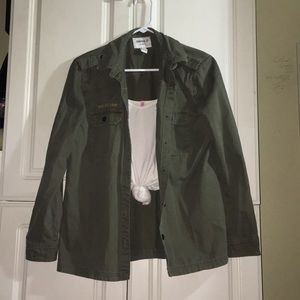 HUNTER GREEN MILITARY INSPIRED JACKET